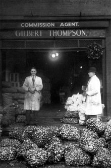 Gilbert and his son, Clifford at the original George Street site in Leeds.